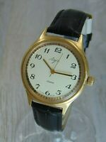 Luch mechanical cal.2209 vintage mens Soviet Russian watch. Gold plated.