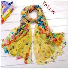 C12 Women 20X60 Inch Wrap Shawl cotton Scarf Stole Soft Scarves Flower Yellow