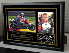 "Kevin Schwantz Motor Cycle Framed Canvas Signed ""Great Gift"" #3"