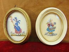 IMPECCABLE PAIR Vintage PETIPOINT ART WORKS Oval Frames CROSSTITCH Embroidery