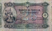 25 LIRE 1883 BIGLIETTO AL PORTATORE 17/05/1883 BANCO DI SICILIA MATRICE  RRR
