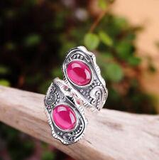 I03 Elegant Journey Ring with Red Corundum Silver 925 Adjustable Size