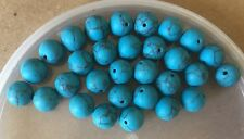 Vintage Turquoise Blue w Matrix Stone Look Matte Texture Round Glass Bead Lot