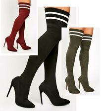 LADIES STRETCHY THIGH HIGH OVER THE KNEE STILETTO HEEL THIN SLIM LEG SOCK BOOTS