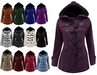 12-24 Ladies New Fleece Duffle Style Hooded Coat Long Jacket Girls Ladies