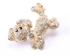 Clear Rhinestone Puppy Brooch Adorable Gold Tone and
