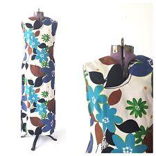 TRUE VINTAGE 1960s 60s dress maxi floral fall medium Hawaiian costume tiki aloha