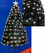 KASCO - 6ft Black Fibre optic Star tree With Warm white & Tree Top Star