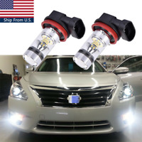 2x H11 100W LED Fog Light Bulbs For Nissan 2008-2014 Maxima Altima 6000k White