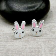 Bunny Rabbit Post Earrings - 925 Sterling Silver - Easter White Rabbit Studs NEW