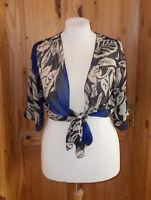 SAVOIR blue beige black chiffon 3/4 sleeve tie-front cardigan jacket top 16 44
