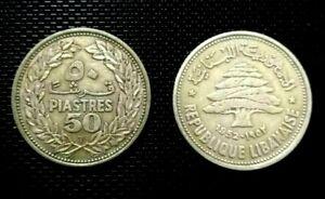 Lebanon 50 piastres 1952 silver coin