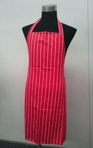 Red & White Stripe FULL Length Chefs Bib Apron