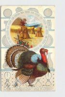 PPC POSTCARD THANKSGIVING WISHES TURKEY HAY STACKS PLATES SILVER EMBOSSED