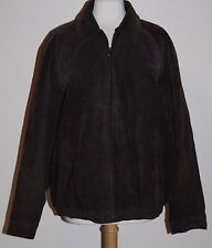 Knights Bridge Men's Suede Leather Jacket Coat Size L Large Dark Brown