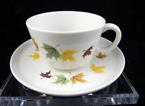 """VINTAGE FRANCISCAN INDIAN SUMMER FALL LEAVES 2 1/8"""" FLAT CUP AND SAUCER SET"""