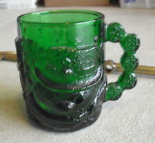 """Vintage Green Glass Coffee Mug Embossed Frosty the Snowman Head 3 7/8"""" Tall"""