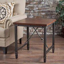 Ines Industrial Dark Walnut Finished Wood with Pine Veneer Overlay Side Table