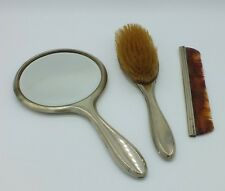 VINTAGE Silver Plated Vanity Set Hand Mirror,Comb and Brush