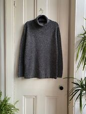 Vintage Oasis Roll Polo Black White Chunky Knit Fleck Pullover Sweater Jumper 12