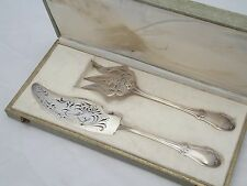 Antique Art Nouveau French All Solid Sterling Silver (950) Fish Serving Set, Box