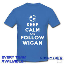 PRINTED KEEP CALM FOOTBALL SUPPORTER T SHIRT ADULT/KIDS SIZES - WIGAN