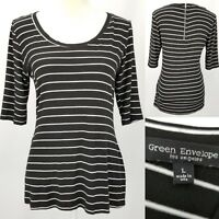 Green Envelope Womens Juniors Large L Black White Stripes Scoop Zipper Neck Top