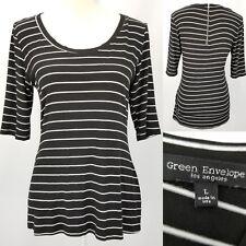 Green Envelope Black White Stripes Scoop Zipper Neck Top Womens Juniors Large L