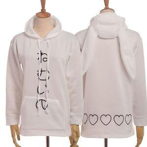 White Hoodie With Hat Cute Animal Ears  Japanes Character Printed Fleece Sweater