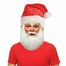 Holiday Christmas Santa Costume Mask with Free Santa Hat Accessory