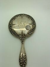Antique Sterling Silver Signed Hand Mirror 213 Grams!