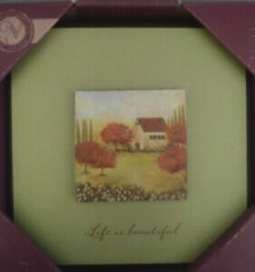 """Inspirational Wall Plaque Mat Layered """"Life is Beautiful"""" Cottage Garden NEW"""
