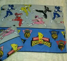 2 Vintage Mighty Morphin Power Rangers Twin Sheets Flat Bedding Fabric Material