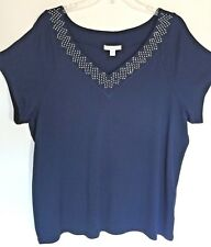 Westport 1962 Short Sleeve Pullover Dress Tee Navy SZ 3X Embellished V-Neckline