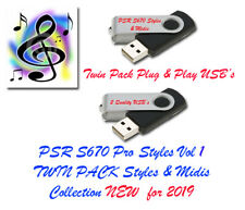 Yamaha PSR S670 Pro Midis with Styles. Vol 1 and 2 Twin Pack USB.