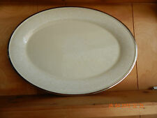 "Lenox Moonspun 16 3/8"" Oval serving platter, white flowers rim & center"