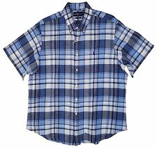 RALPH LAUREN Classic Fit 100% Cotton Blue Plaid Button Shirt Men XL Short Sleeve