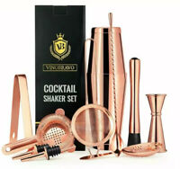 Vinobravo 11-Piece Rose Copper Boston Cocktail Drink Shaker Set