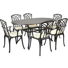 Metal Cast Aluminium 7 Piece Garden Furniture Table Patio Set With Cushions