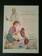1954 Pepsi-Cola Poodle Dog Beach Color Soda-Pop Memorabilia Promo Trade AD