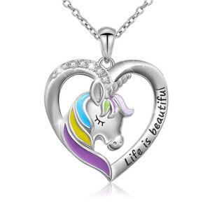 Einhorn Kette für Mädchen S925 Sterling Silber Herz Pferd Pony mit Geschenkbox
