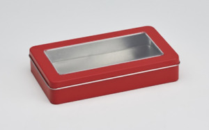 RED RECTANGULAR TIN WITH SLIPLID 189X112X35MM