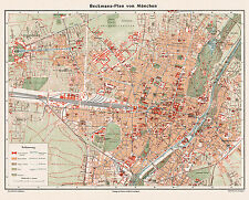 Munich Historical City Map from about 1910 (Beckmann) Vintage Print Poster