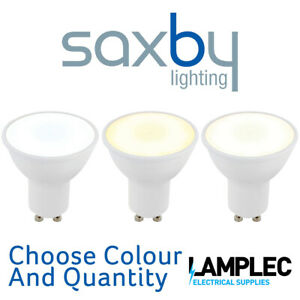 Saxby GU10 LED Lamp SMD wide beam angle 120 degrees 6W Warm Cool Day White Packs