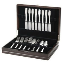 Dark Walnut Silver Ware Chest Flat Cutlery Case 12 Service Plush Black Lining