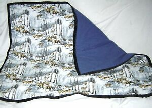 New Flannel Deer in Winter Forest and Blue Baby Blanket Handmade