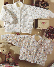 BABY CHILDS CARDIGAN DOUBLE KNIT & 4 PLY KNITTING PATTERN 18/24 INCH  (957)