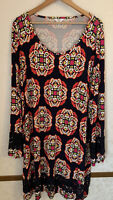 Crown & Ivy Woman Blue /Multicolor Abstract Design Dress W/Lace Insert Size 3X