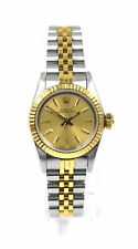 LADIES ROLEX 67193 OYSTER PERPETUAL DATEJUST WRISTWATCH 18K GOLD SS c1987 BOX