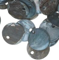 100 Grey Mussel Shell 10mm Round Coin Drop Charms